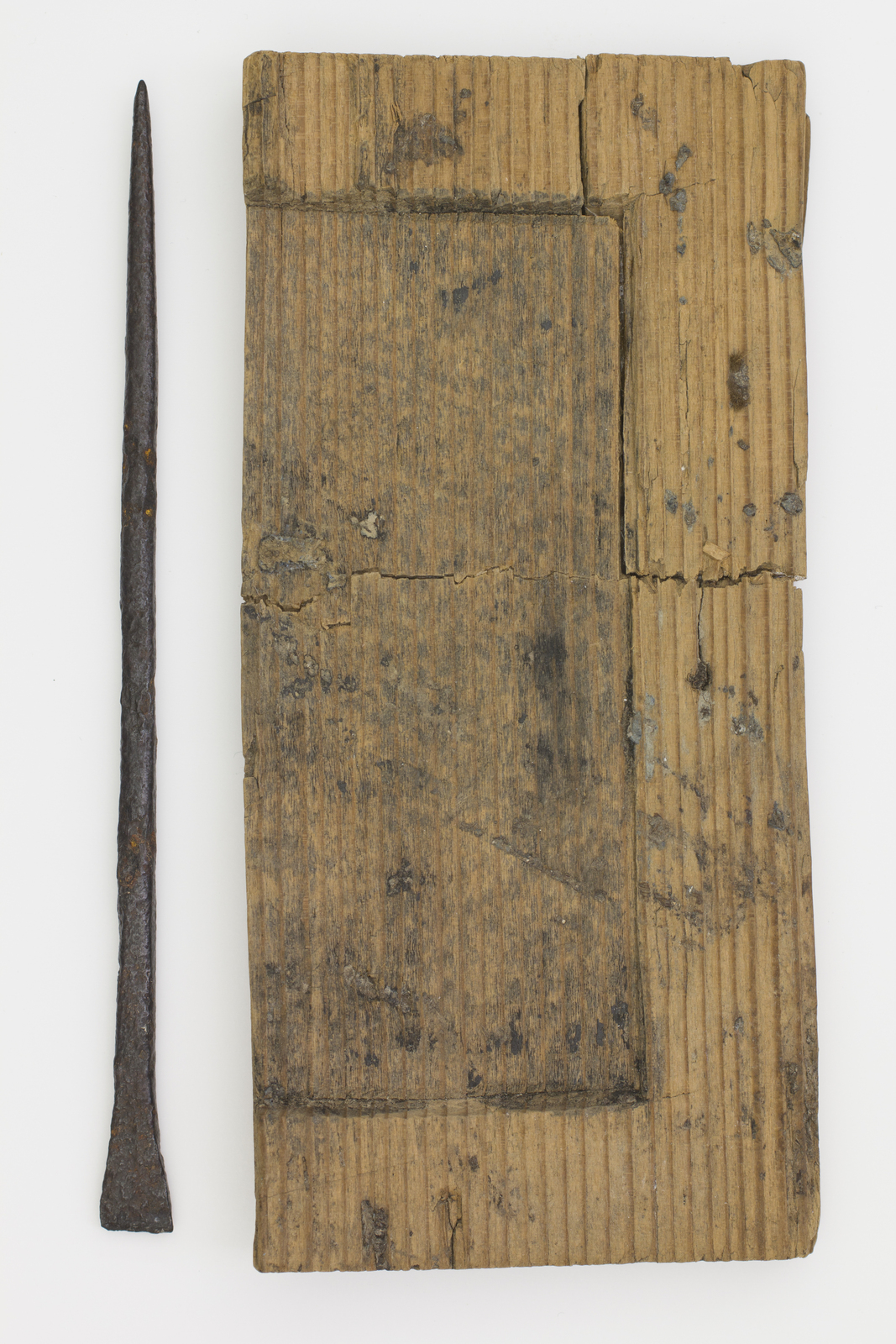 Wax tablet wooden fragment 3  with its stylus